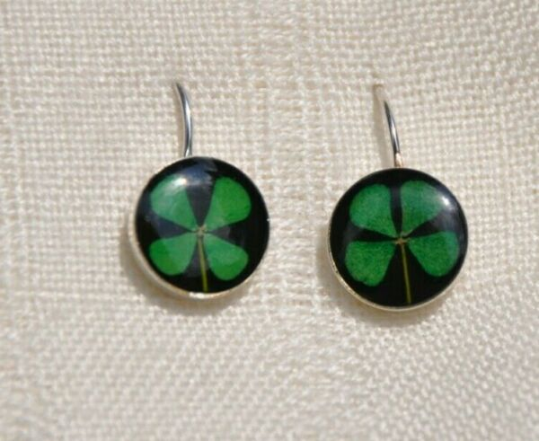 PRETTY LUCKY REAL FOUR LEAF CLOVER STERLING SILVER PIERCED EARRINGS