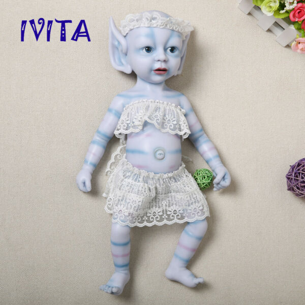 IVITA 15'' Full Body Silicone Reborn Doll Multiracial Baby Girl Avatar Toy Gifts