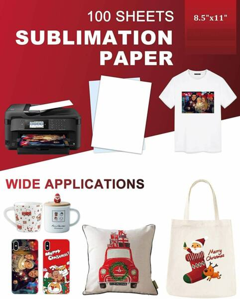 100 Sheets A4 Heat Sublimation Paper Transfer Paper for Inkjet T Shirts Mugs US $15.99