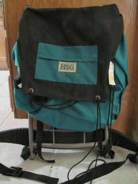 Aluminum Exterior Framed Green Nylon Backpack by HSG