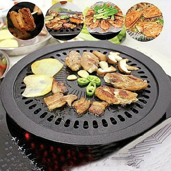 Smokeless Indoor Iron Stovetop Korean BBQ Grill Tray Portable Stove Round Black