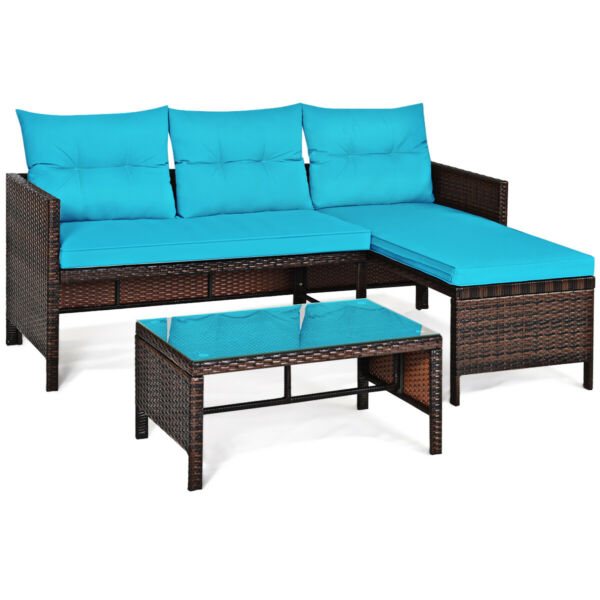 3PCS Patio Rattan Sofa Set Outdoor Wicker Sectional Conversation Furniture Set