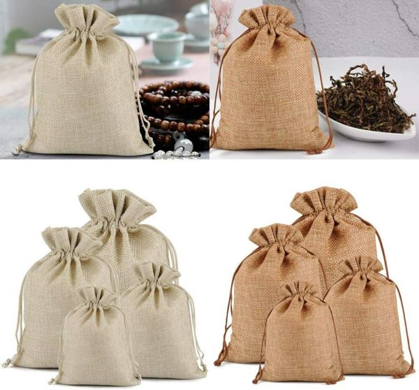 25 50 100PCS Burlap Gift Bags Wedding Hessian Jute Bags Linen Jewelry Pouches