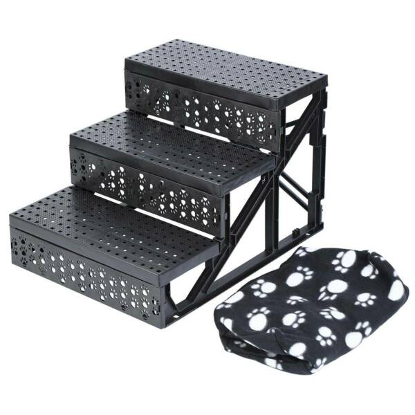 Indoor Dog Steps Ramp Pet Stairs Portable Folding Animal Cat Ladder with Cover