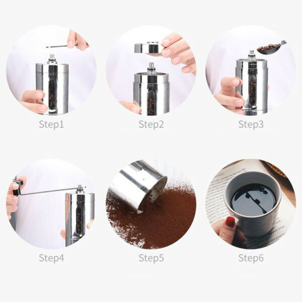 Manual Coffee Grinder Conical Burr Mill Brushed Stainless Steel Tea