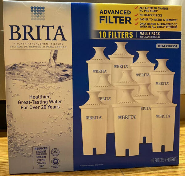 Brita Pitcher Replacement Filters Advanced Filter 10 pack New In Box