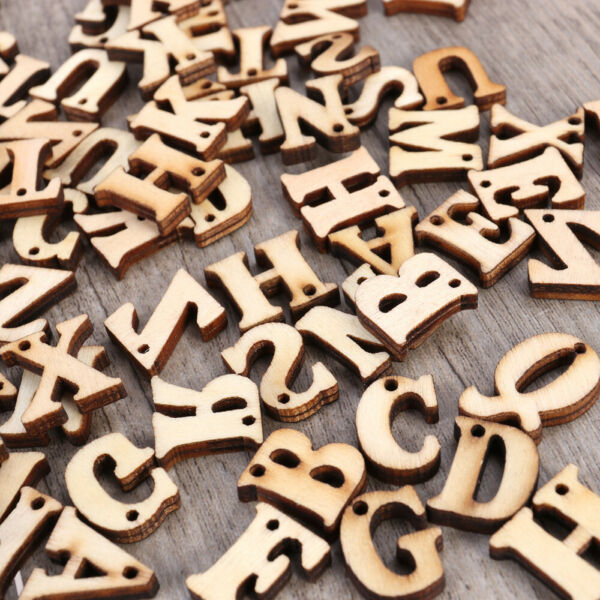 Wooden Capital Letters Alphabet Pieces Arts Crafts DIY Wood Cutout Letters Discs