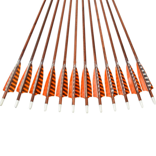 30quot; Feather Carbon Arrows SP400 Wooden Skin Shaft Archery Bow Target Shooting $36.65