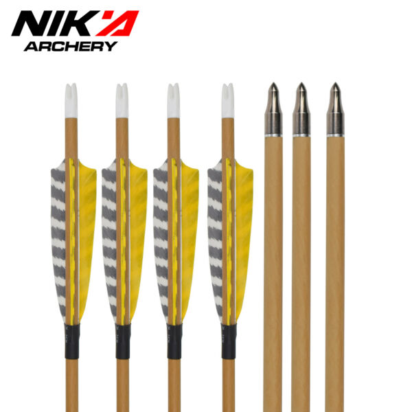 30quot; Wood Carbon Arrows SP500 Field Point Feather Archery Hunting Outdoor 6 pcs $43.23