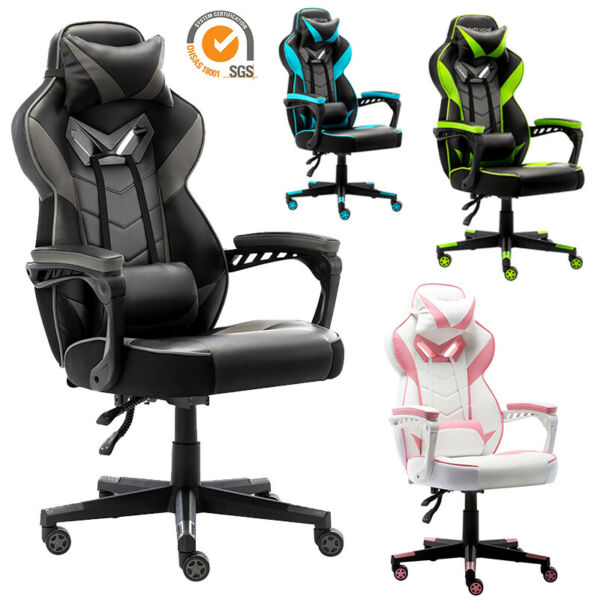 Gaming Chair Racing Leather Office Recliner Computer Desk High-Back Seat Swivel $125.99