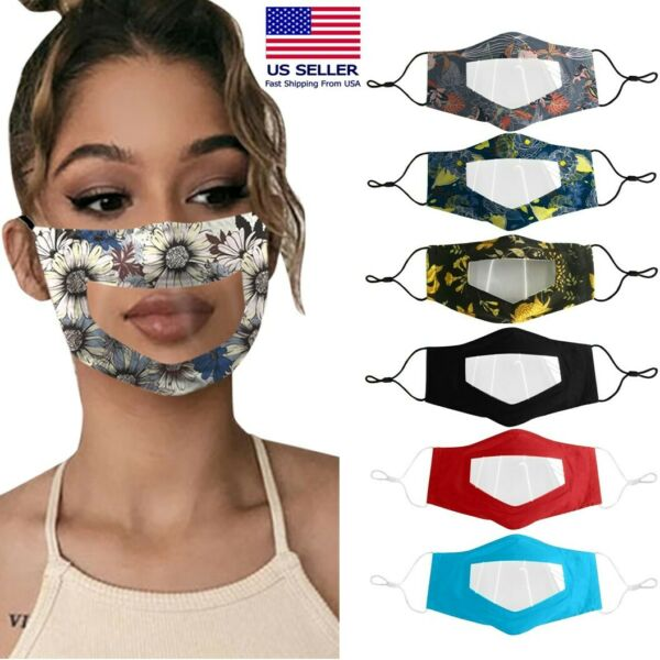 Women#x27;s Face Mask With Visible Lip Expression Clear Window Shield For Deaf Mute