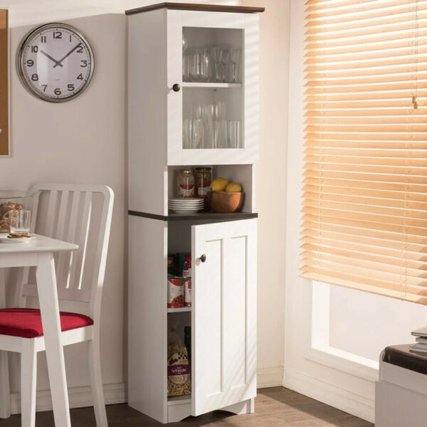 KITCHEN PANTRY STORAGE CABINET White Tall Cupboard Storage Shelf Organizer