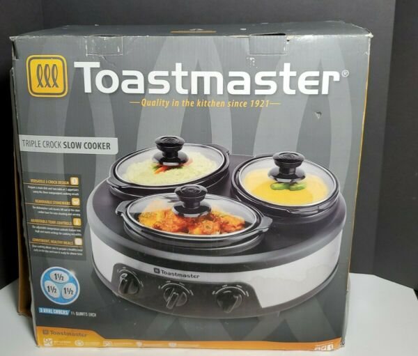 Toastmaster Triple Crock Slow Cooker New Open Box