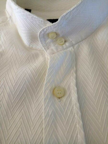 13 ETRO Mens Shirt Size 40 Long Sleeve Textured Pattern White MADE IN ITALY AU $94.95