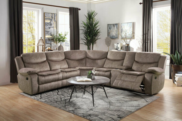 NEW Motion Sofa Sectional Brown Microfiber Reclining Living Room Couch Set IF50 $1963.91