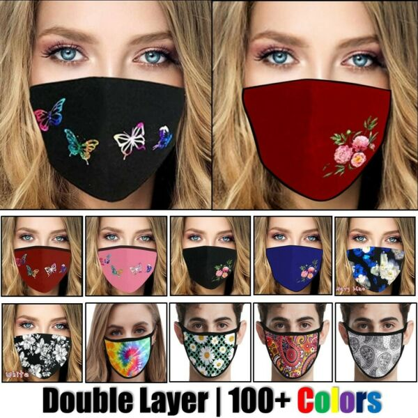 Womens Butterfly Print Cloth Fabric Face Mask Cover Reusable Washable Breathable $6.95