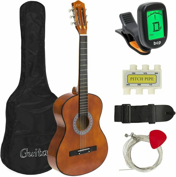 Best Choice Products 38in Beginner Acoustic Guitar Starter Kit wCase Strap Tun