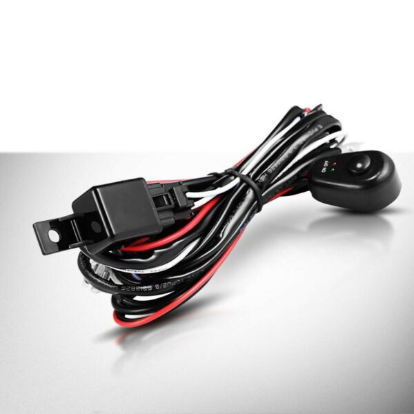 Dual LED Light Bar Wiring Harness Kit 12V 40AMP Relay ON OFF Switch Cable