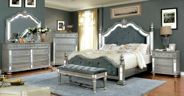 NEW Traditional Silver Bedroom Furniture - 5pcs King Size Poster Bed Set ICAN