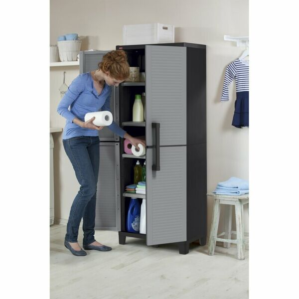 Gray Pantry Storage Cabinet 4 Shelves Laundry Closet Garage Utility Organizer