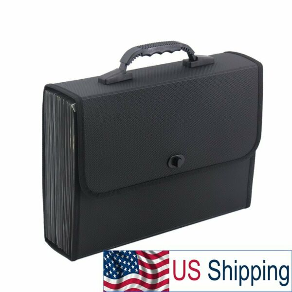Black AccordionFile Folder Carrying Case Portable for Business Paperwork $22.99