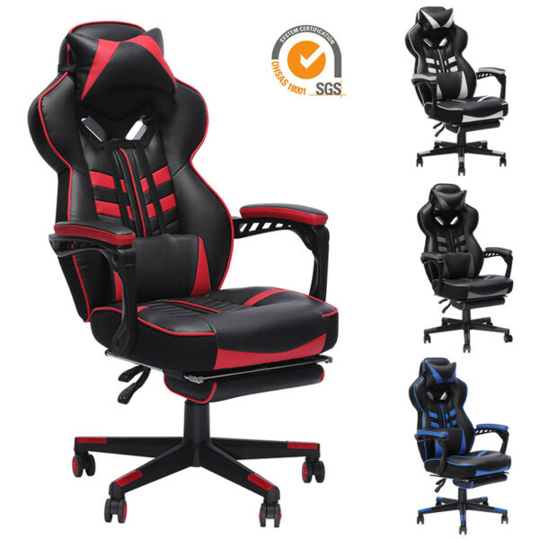GAMING CHAIR RACING COMPUTER LEATHER HIGH BACK RECLINER OFFICE DESK SWIVEL SEAT $125.99
