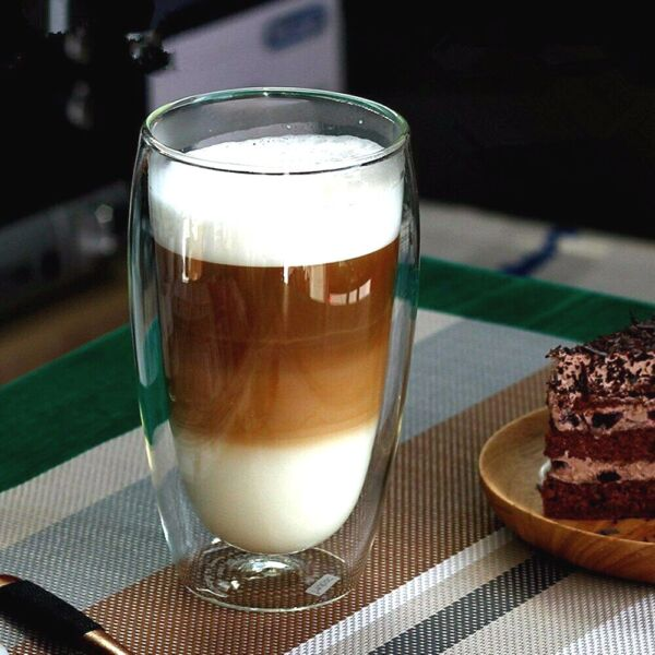 SET OF 2 Double Wall Insulated Coffee Glass Cups Clear Double Layer Glass Cups $12.99