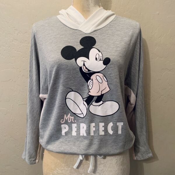 Disney Mickey Mouse Cropped Hoodie Sweatshirt Junior's Size Large