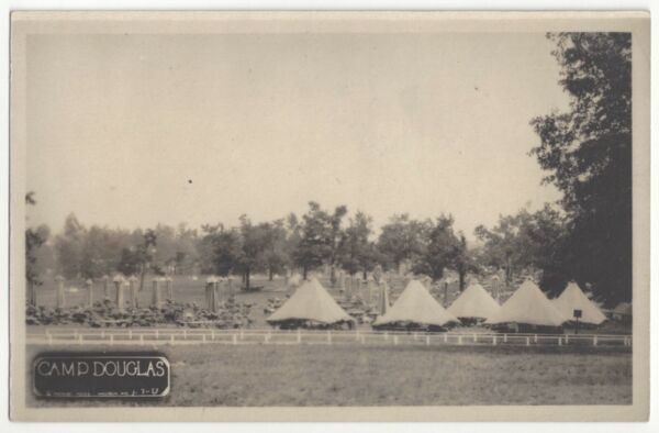 1915 Camp Douglas Wisconsin REAL PHOTO Military Tents Vintage Postcard