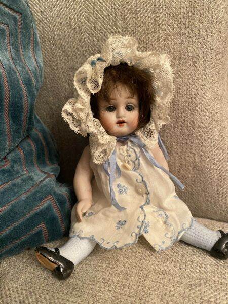 """Rare Large Antique 6.5"""" All Bisque German Doll Nicely Dressed In Blue"""