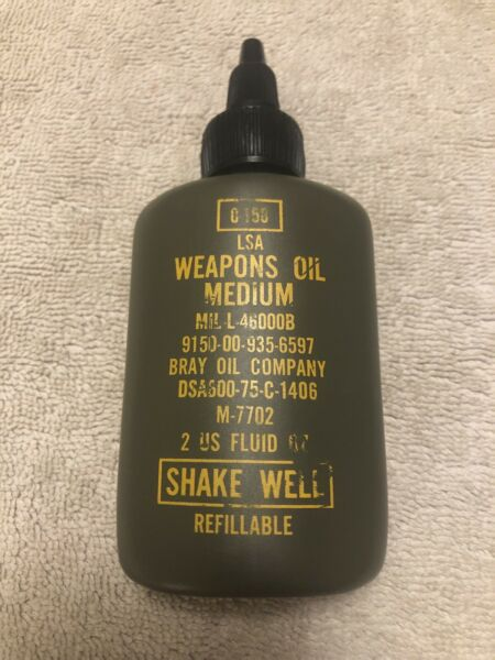 USGI Military LSA Weapons Oil Medium Gun Rifle Oil 0 158 2 Fluid oz