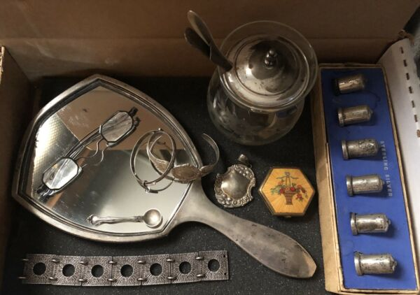 Lot of Antique  Vtg Sterling Silver Items - Mirror Spoons Eyeglasses Jewelry