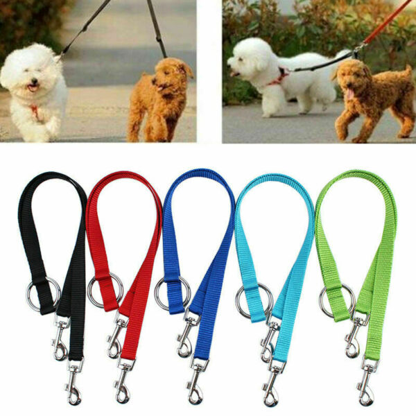 Nylon Double Lead Coupler Twin Dog Two Pet Dog Walking Leash Split N4Q1 B3Q2 $2.95