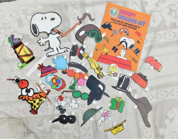 VINTAGE 1982 SNOOPY DISGUISE KIT PAPER DOLL DRESS HIM UP IN FUNNY COSTUMES RARE $28.99