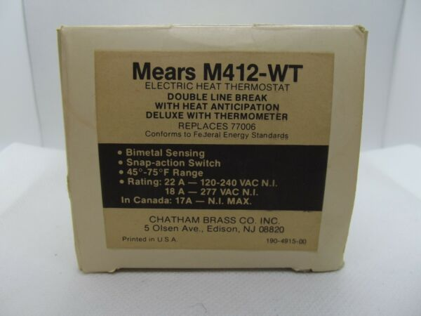 Thermostat Mears M412 WT Electric Heat Thermostat $24.99