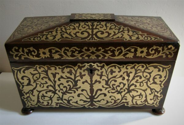 Antique Regency Period Brass Boulle Work Tea Caddy Box Interior Compartments