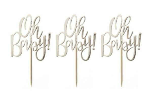 Ginger Ray Oh Baby Cupcake Toppers; Baby Shower Cupcake Picks; Unisex Shower 12