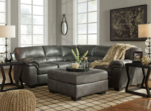 Gray Microfiber Sectional Living Family Room Furniture Sofa Ottoman Set IG1R $1667.72