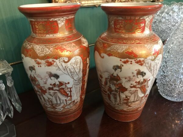 "Pair Antique Japanese Hand Painted Kutani Porcelain Vase 11.5"" signed"