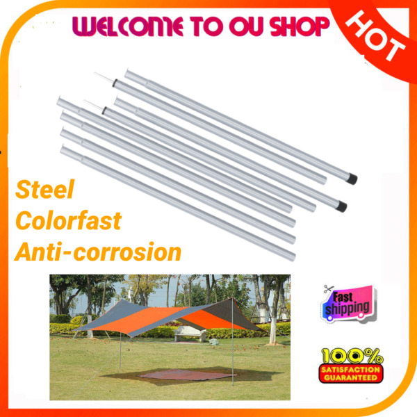8PCS Tent Pole Awning Rod Part Camping Support Corrosion Resistant Adjustable