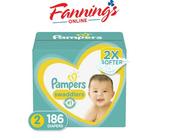 Pampers Swaddlers Disposable Baby Diapers Size 2 186 Count Open Box $39.94