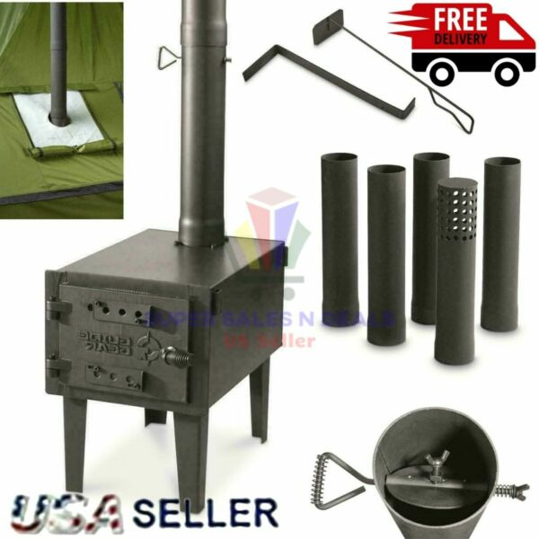 OUTDOOR WOOD BURNING STOVE Steel Camping Survival Tent Grill Cooking Portable $148.47
