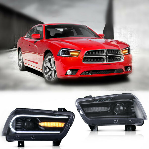 VLAND Head light For 2011 2014 Dodge Charger HID Black Dual LED W DRL Strip