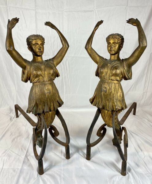 Exquisite Pair of 19th Century Gilt Bronze Figural Andirons Ancient Greek Women