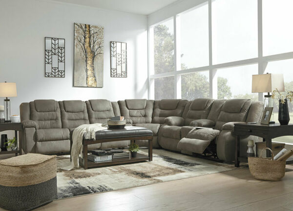 Living Room Furniture Couch Set Gray Microfiber Reclining Sofa Sectional IF17 $1976.97