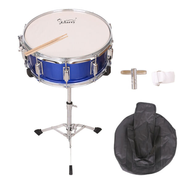 New 14 x 5.5quot; Blue Snare Drum Poplar Wood Drum with Silver Stand