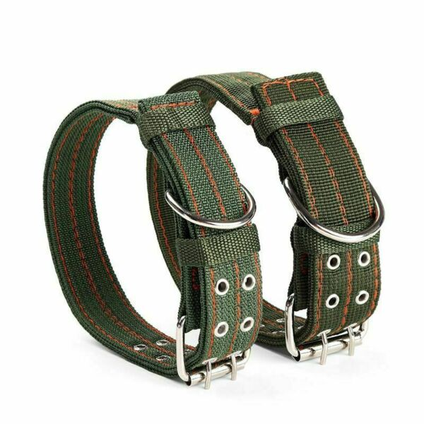 Tactical Heavy Duty Nylon Large Dog Collar K9 Military with Double Metal Buckle $10.60