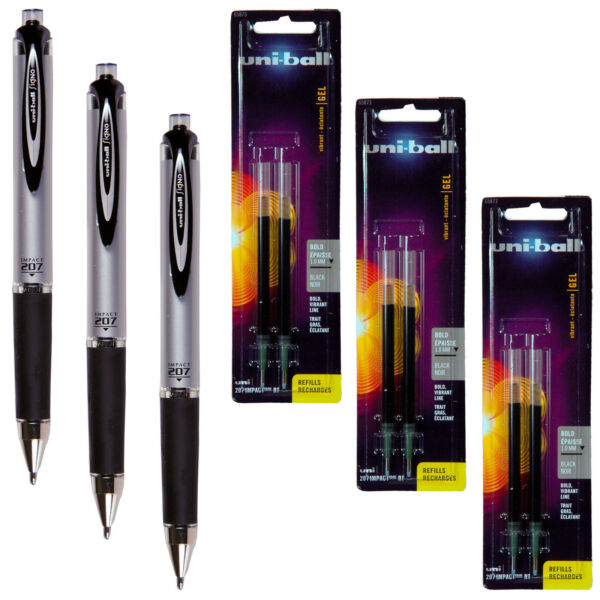 Uni Ball Signo Impact 207 RT 65870 With Refills 65873 Black Gel Ink 1.0mm Bold
