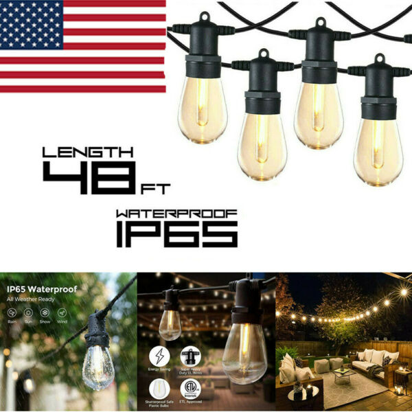 48FT LED Outdoor Waterproof 15 Bulbs Commercial Grade Patio Globe String Lights $35.99