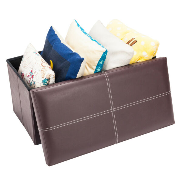 Storage Ottoman Storage Chest Faux Leather Stool Bench Seat Home Furniture Brown $42.98